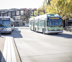 EmX and Bus at Eugene Station